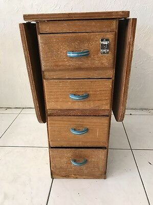 """Vintage Wood Folding  School Desk 4 Drawer Small  29"""" Tall 45"""" Wide Extends"""