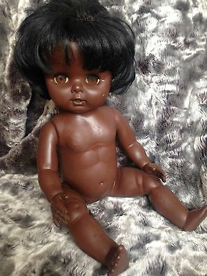 Vintage Chiltern 70's Black Doll with blinking eyes