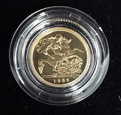 1985 Gold United Kingdom Half Sovereign Proof With Box