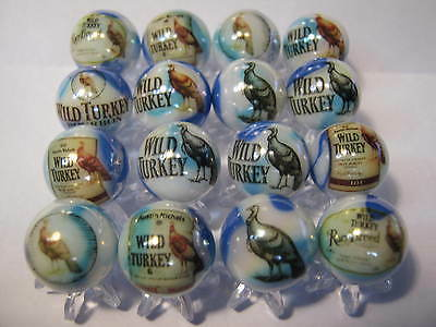 WILD TURKEY BOURBON WHISKEY WHISKY 5/8 size glass marbles lot collection +STANDS