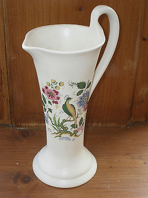 Purbeck large cream vase/jar, Swanage, peacock, tropical bird /foliage, English