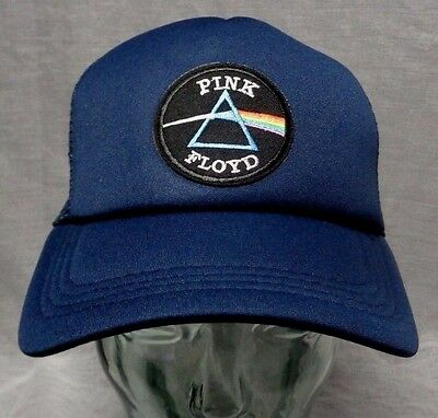 pink floyd patch on mesh hat trucker cap dark side of the moon blue snapback
