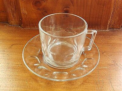 Clear glass cup and saucer, retro tea/ coffee cup France