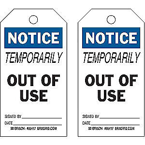 BRADY Polyester Notice Tag,5-3/4 x 3 In,Hd Polyest,PK10, 86417