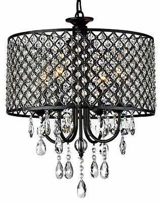 Rachelle 4-Light Brass Crystal Chandelier, Antique Bronze