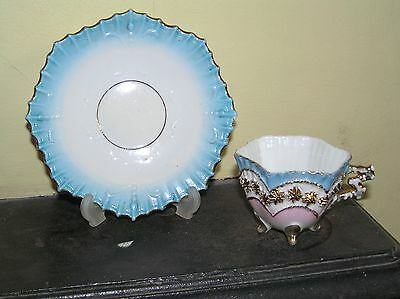 19th century Continental Porcelain Cabinet Cup and Saucer - hand painted