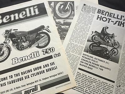 Benelli 750 Sei - Original 5 Page 1975 Motorcycle Article + Advert