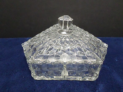 Candy or Trinket Dish Divided on the Inside Clear Cubist Pattern Glass