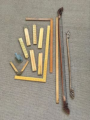 Bulk Lot Of Rulers , Hole Punch , Two Fabric Poster Hangers , Retro Vintage Prop