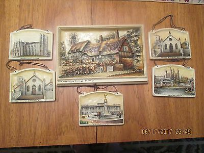 Collection of 6  Arthur Osborne Ivorex Plaques-Westminister Abbey,London Tower .