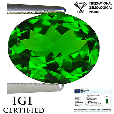 2.08 Ct IGI Certified Natural Chrome Diopside Electric Green Color Oval Cut