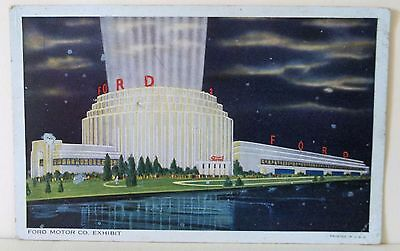 1934 Chicago Worlds Fair Expo Ford Motor Building Ad  Night Moon Postcard
