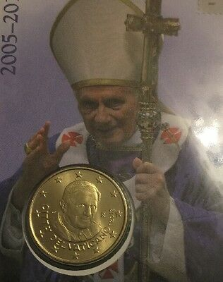 2012 VATICAN CITY, 50 Euro Cent, Brass, Coin Card UNC Pope Benedict XVI