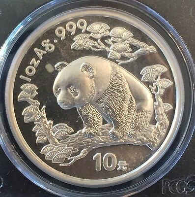 1997 China 1 Oz Silver Panda 10 Yuan Pcgs Ms69
