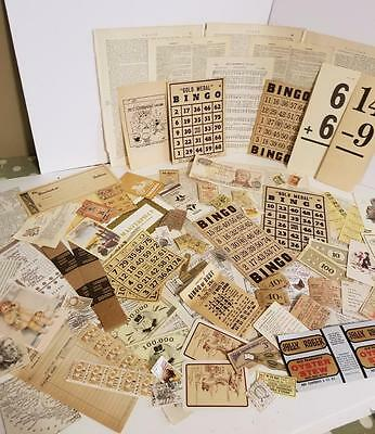 vintage ephemera paper variety box lot tickets stamps tan neutral pieces 75+ Q