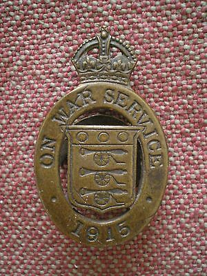WW1 British ON WAR SERVICE 1915 Lapel Badge by Wylie of London, Issue U#16288