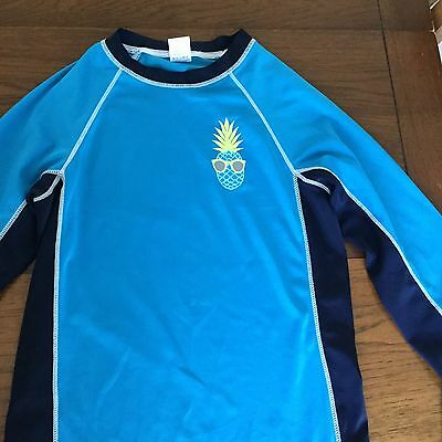 Gymboree Boys rash Guard sz Large L 10 12 Pineapple Blue L/S Swim Shirt