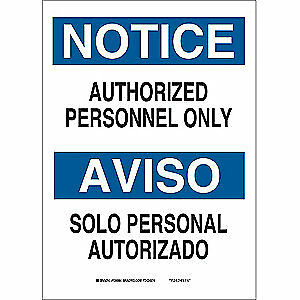 BRADY Notice Sign,14 x 10In,BL and BK/WHT,Text, 90667