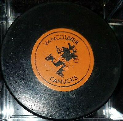 Vintage WHA johnny Vancouver Canucks Art Ross Tyer Converse Game Puck CCM RUBBER