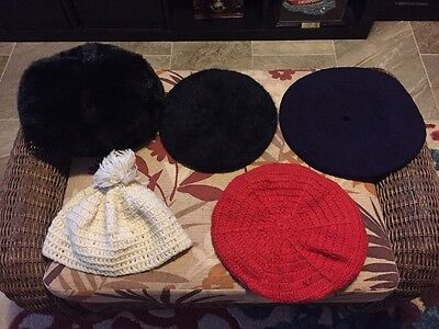 Lot of 5 Vintage Ladies Hats-2 Knitted 2 Beret. 1 Fur. All Fit Med-Lg Hat Size
