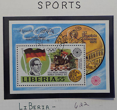 1972 Liberia  Olympics Gold Medal Winners Miniature Sheet, #622 Cancelled