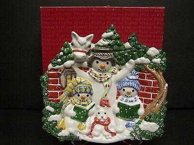 Fitz & Floyd The FLURRIES Canape PLATE Snowmen with BOX 9x9 EXCELLENT Christmas