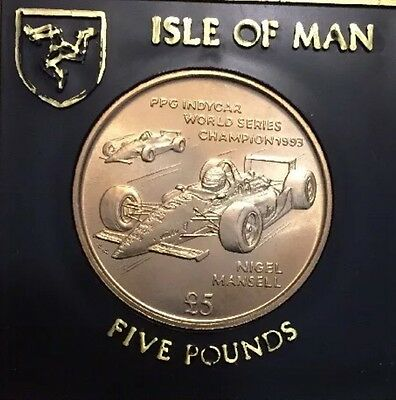 1994 Isle Of Man £5 Coin  Nigel Mansell F1 Rally Car UNC In Case