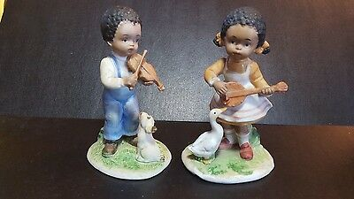 Home Interiors 1432 Boy with Dog Girl with Goose  porcelain figurine HOMCO 1432
