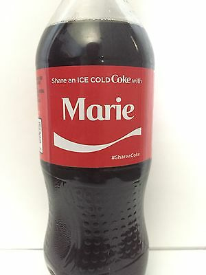 Share A Coke With Marie Personalized Name Coca Cola Collectible Bottle.