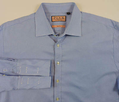 Thomas Pink Men's Slim Fit French Cuff Blue Dress Shirt 17 1/2 - 35