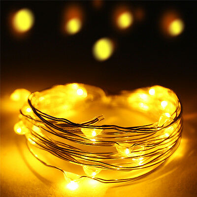 3M 30 LED Battery Operated Copper Silver Wire String Fairy Lights Yellow Color