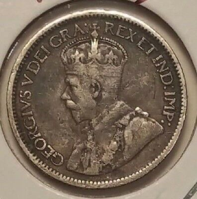 Canada 1919 .925 Silver 10 Cents, Km23, Vf, Circulated, Business, Free Usa Ship