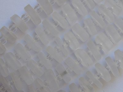 """SEA GLASS BEADS Square Spacer 8x9mm Clear Flat 25 pc 4"""" Strand center drilled"""