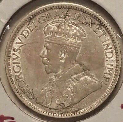 Canada 1921 .925 Silver 10 Cents, Extra Fine, .800 Silver, Cat: $20, Free Ship