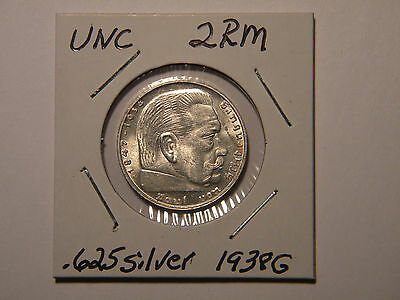 WW2 German 2 Mark Silver Coin 3RD Reich With Large Swastika Brilliant UNC 1938G