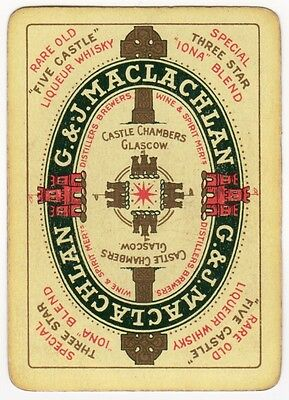 Playing Cards 1 Single Swap Old Wide C&J MACLACHLAN Glasgow FIVE CASTLE Whisky 1
