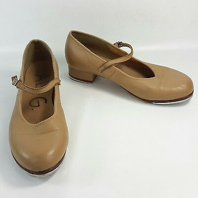 Bloch Womens 7.5 Techno Tap Nude Tan Leather Shoes Mary Jane Jazz Dance used