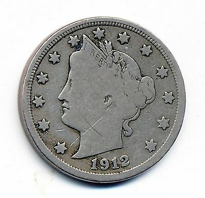 1912-S Very Good  Fine Detail, Reverse Scratch, Liberty Nickel