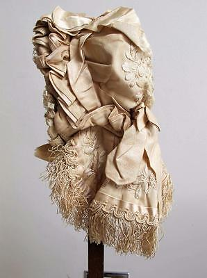Antique Victorian Cream Embroidered & Ribbon Wired Baby's Cap Bonnet c1890
