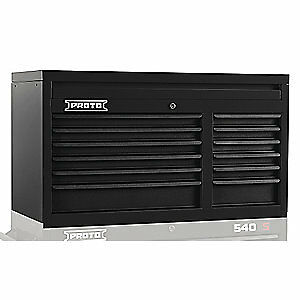 PROTO Steel Top Chest,Black,41in.W,23in.H,12 Drawers, J544119-12DB, Black
