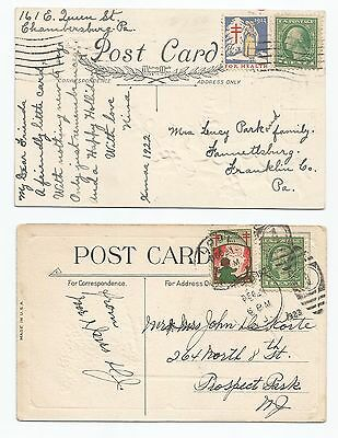 1922 and 1923 Christmas seals on postcards, tied with cancels, 2 for one money!!