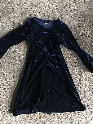 Girls Size 6-8 Winter Navy Velour Sparkle Party Dress From Myer