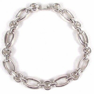 "Vintage Sterling Silver Taxco Heavy Chain Link Necklace 925, 16"" 106 grams"