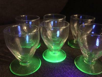 Uranium Glass Whisky /spirit glasses