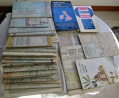 Forty-Four Vintage National Geographic Maps and Two Other UK Road Maps 1940s-60s
