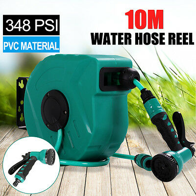 10M Garden Wall Mounted Water Hose Reel Retractable Watering Pipe w/2 Spray Guns