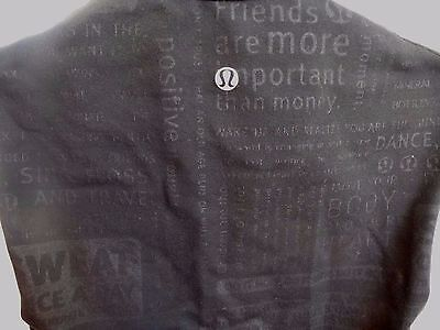 Lululemon Rare Black Manifesto Word Stretch tank Run Shirt Bra Gym Yoga no size