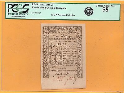 1786 May RI-294  Rhode Island Colonial Currency 3s ( PCGS 58 Choice About New )