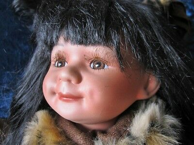 """16"""" Beautiful Signed and Numbered Sweet Heart Native American Porcelain Doll"""