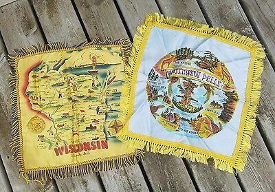 Two Vintage Souvenir Pillow Covers Wisconsin Dells with Fringe - Fantastic!!